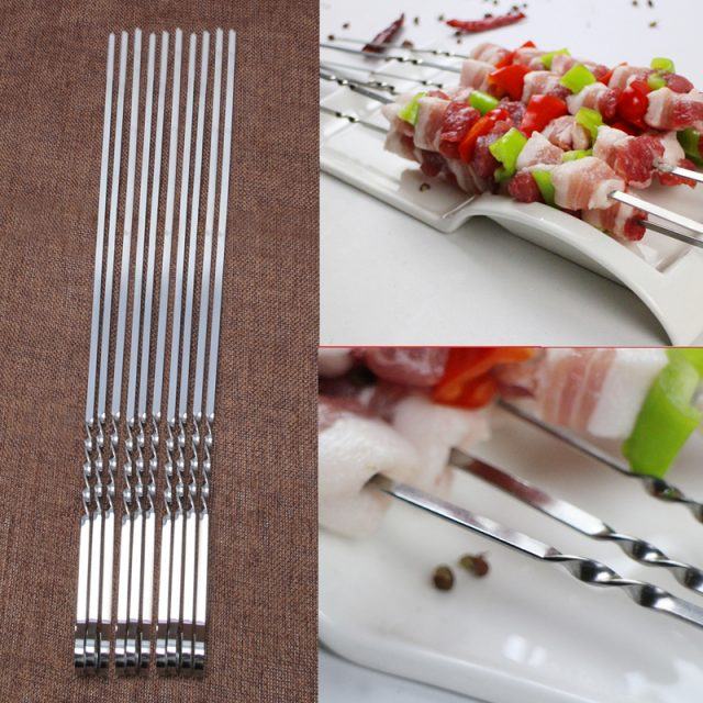 Convenient Heat-Resistant Durable Flat Stainless Steel Skewers Set
