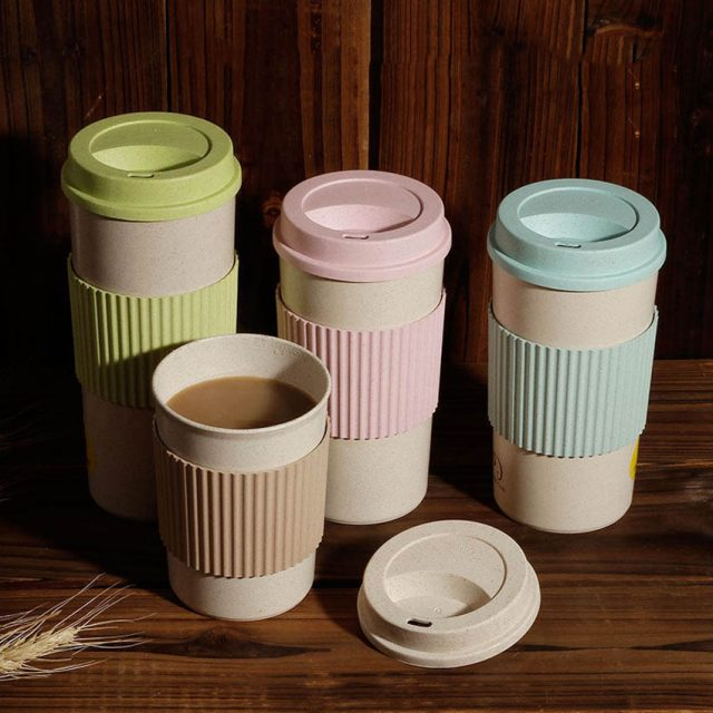 Pastel Color Coffee Cup with Lid and Heat Protection