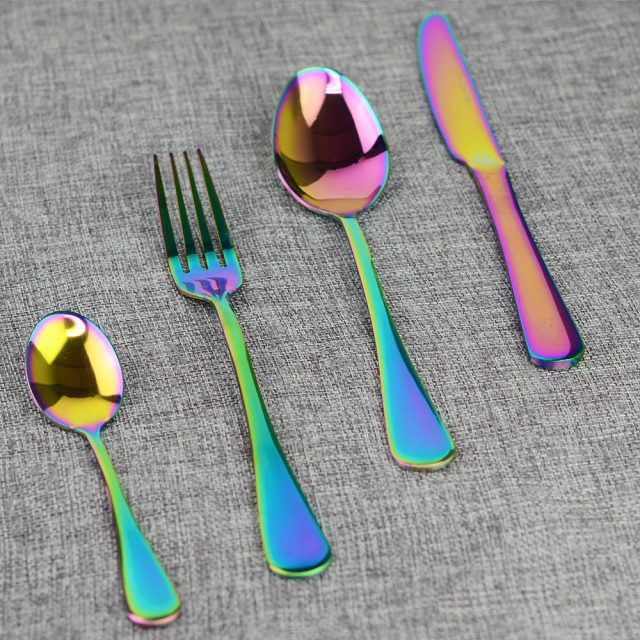 Cute Durable Eco-Friendly Colorful Stainless Steel Flatware Set
