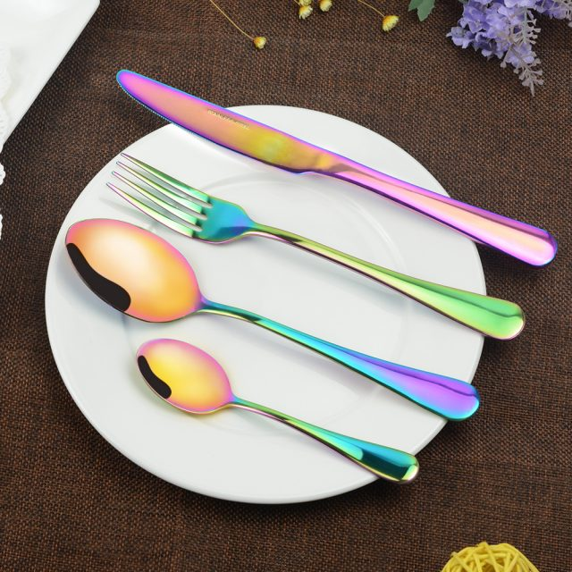 Stylish Durable Eco-Friendly Polished Stainless Steel Flatware Set