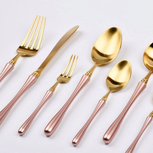 Rose Gold Stainless Steel Dinnerware 4 pcs Set