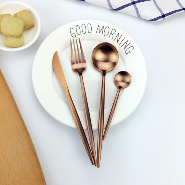 High Quality Durable Gold Plated Stainless Steel Flatware Set