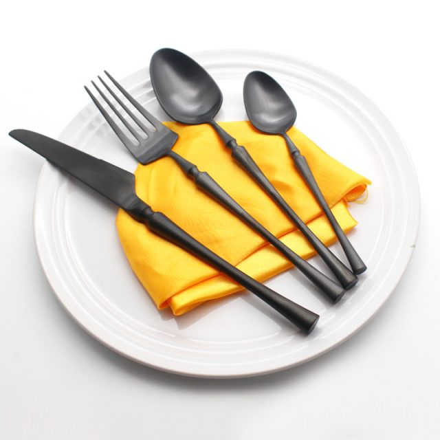 Stylish High Quality Eco-Friendly Matte Stainless Steel Flatware Set
