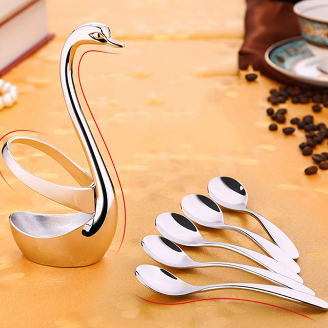 Creative Stainless Steel Swan Spoon Holder