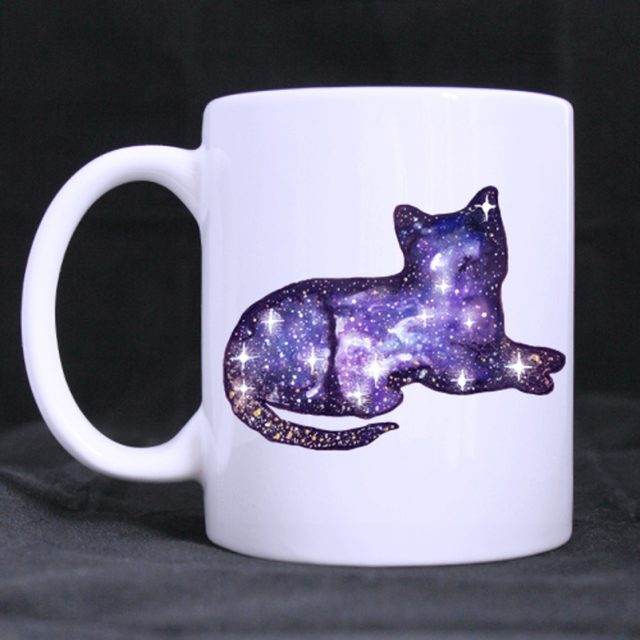 Space Cat Printed Ceramic Coffee Mug